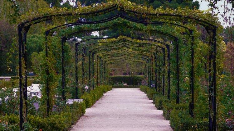 الممرات المزينة بالورود والأشجار والمنحوتات في حديقة ريتيرو