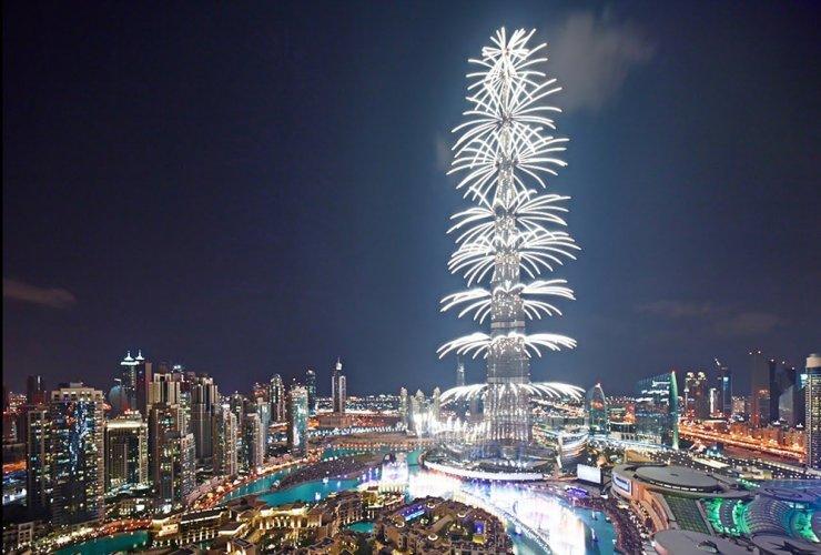 الألعاب النارية في برج خليفة