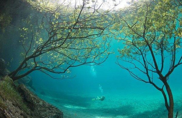 البحيرة محيطة بالجبال والغابات