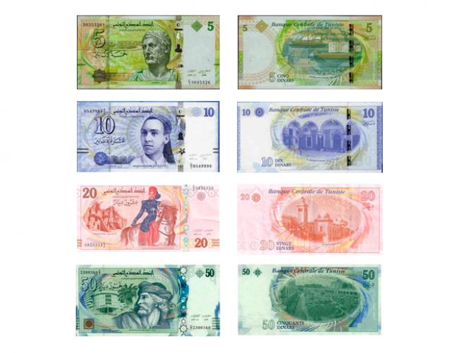 العملة الورقية الدينار التونسي