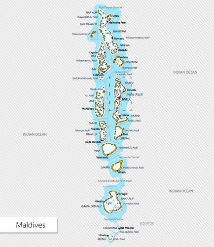 موقع وخريطة جزر المالديف