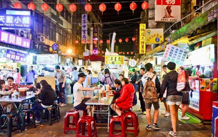 السوق الليلي شيلين في تايوان