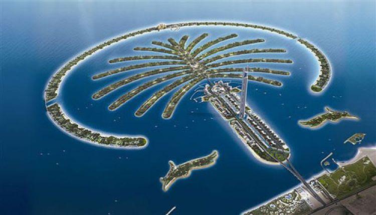 نخلة جميرا هي جزيرة من صنع الانسان