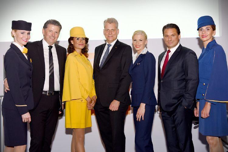 Lufthansa Executives with Lufthansa crew in retro uniforms