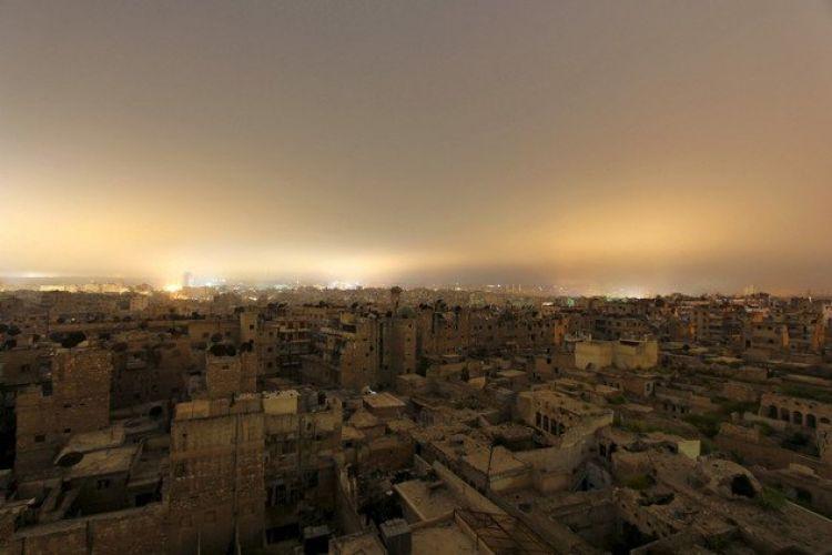 منظر عام لمبان مدمرة في حلب
