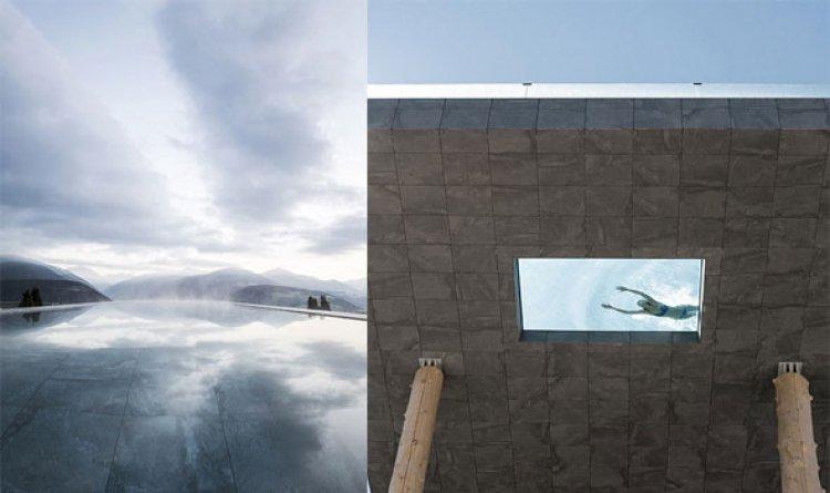 حمام السباحة يطل على جبل الدولوميت