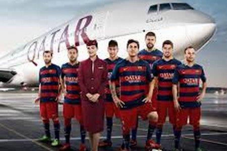 برشلونة و شعار القطرية للطيران