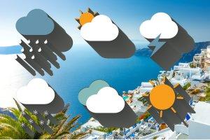 الطقس ومناخ الطقس جزيرة سانتوريني